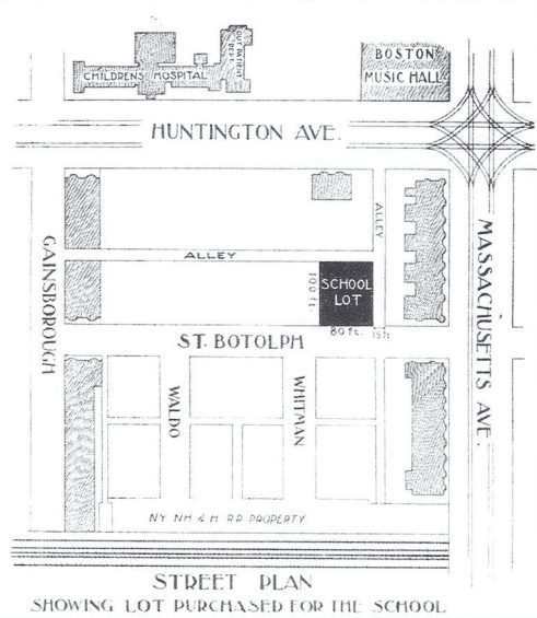 illustrated street map of the new Cotting School building location from 1900