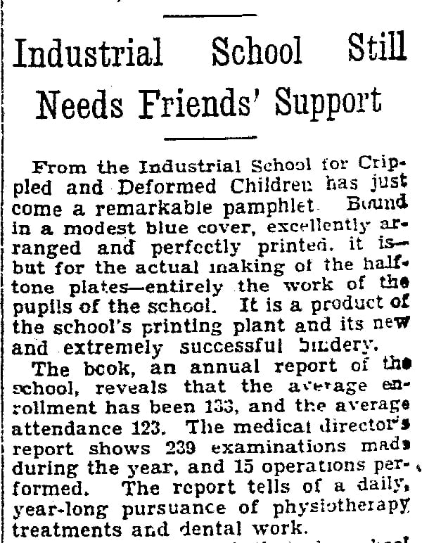 Preview of Industrial School Still Needs Friends' Support.