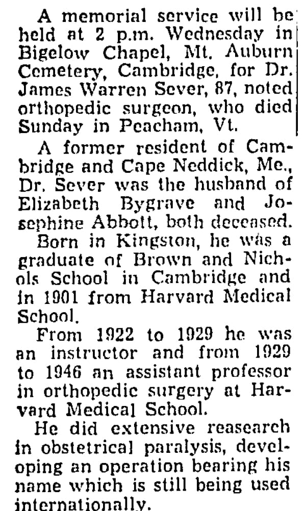Preview of Dr. Sever Obituary.