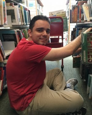 Peter working in the Cotting library