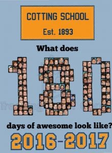 2017 Yearbook Cover that says, what does 180 days of awesome look like?