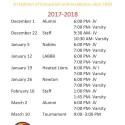 Cotting School 2017 Basketball Schedule