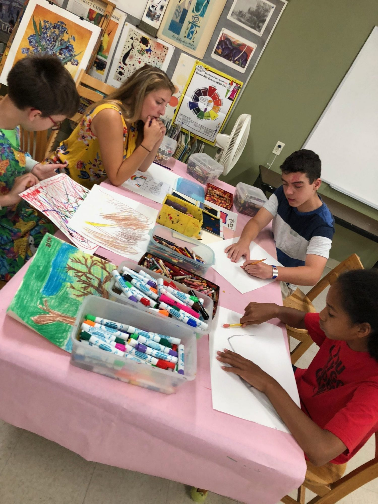 Four Cotting School students painting in the Art classroom